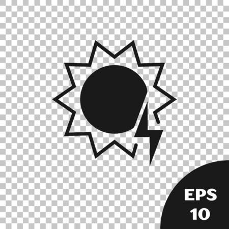 Black Solar energy panel icon isolated on transparent background. Sun with lightning symbol. Vector Illustration