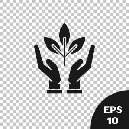 Black Plant in hand of environmental protection icon isolated on transparent background. Seed and seedling. Planting sapling. Ecology concept. Vector Illustration Çizim