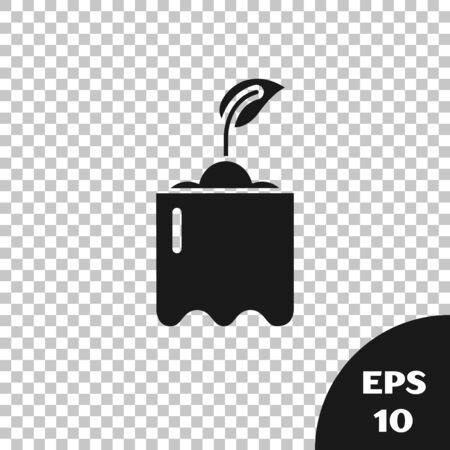 Black Sprout in bottle icon isolated on transparent background. Seed and seedling. Leaves sign. Leaf nature. Vector Illustration