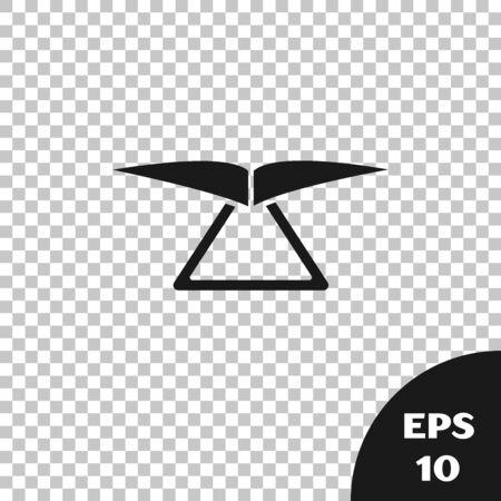 Black Hang glider icon isolated on transparent background. Extreme sport. Vector Illustration Ilustração