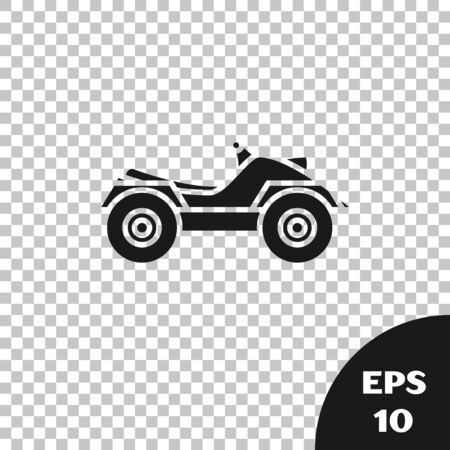 Black All Terrain Vehicle or ATV motorcycle icon isolated on transparent background. Quad bike. Extreme sport. Vector Illustration Ilustração