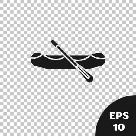 Black Rafting boat icon isolated on transparent background. Inflatable boat with paddles. Water sports, extreme sports, holiday, vacation. Vector Illustration