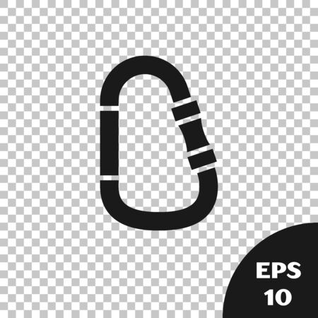 Black Carabiner icon isolated on transparent background. Extreme sport. Sport equipment. Vector Illustration