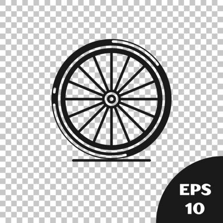 Black Bicycle wheel icon isolated on transparent background. Bike race. Extreme sport. Sport equipment. Vector Illustration Illusztráció