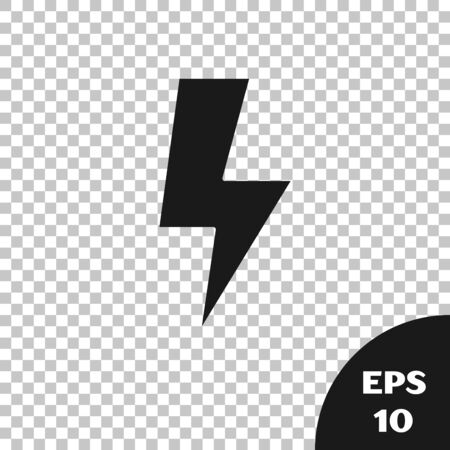 Black Lightning bolt icon isolated on transparent background. Flash sign. Charge flash icon. Thunder bolt. Lighting strike. Vector Illustration