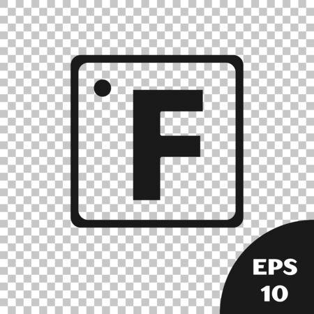 Black Fahrenheit icon isolated on transparent background. Vector Illustration Çizim