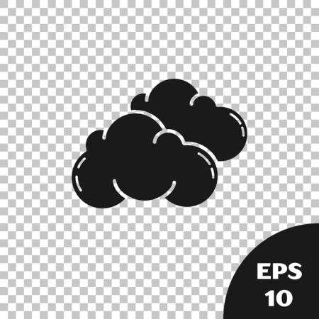 Black Cloud icon isolated on transparent background. Vector Illustration