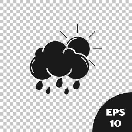 Black Cloud with rain and sun icon isolated on transparent background. Rain cloud precipitation with rain drops. Vector Illustration Illustration