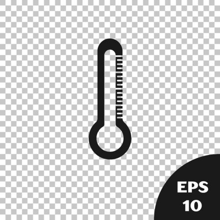 Black Thermometer icon isolated on transparent background. Vector Illustration