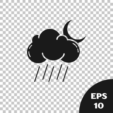 Black Cloud with rain and moon icon isolated on transparent background. Rain cloud precipitation with rain drops. Vector Illustration