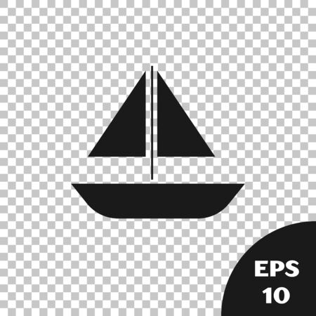 Black Yacht sailboat or sailing ship icon isolated on transparent background. Sail boat marine cruise travel. Vector Illustration Иллюстрация