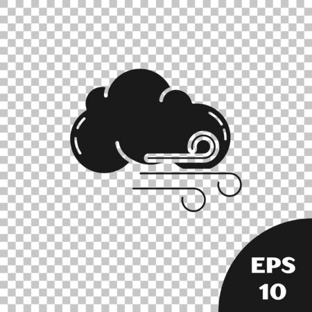 Black Windy weather icon isolated on transparent background. Cloud and wind. Vector Illustration Foto de archivo - 131314667