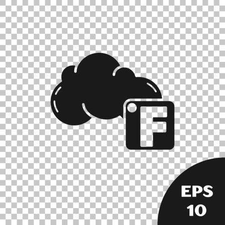 Black Fahrenheit and cloud icon isolated on transparent background. Vector Illustration