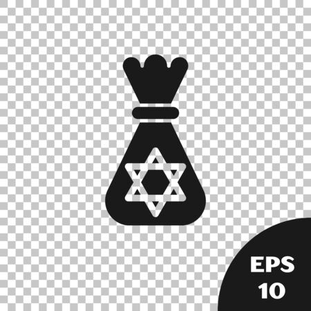Black Jewish money bag with star of david icon isolated on transparent background. Currency symbol. Vector Illustration Фото со стока - 131316875