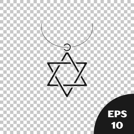 Black Star of David necklace on chain icon isolated on transparent background. Jewish religion symbol. Symbol of Israel. Jewellery and accessory. Vector Illustration
