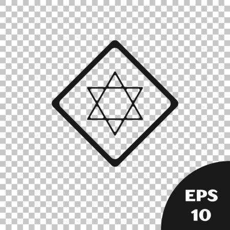 Black Star of David icon isolated on transparent background. Jewish religion symbol. Symbol of Israel. Vector Illustration Stock Vector - 131316894