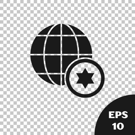 Black World Globe and Israel icon isolated on transparent background. Vector Illustration