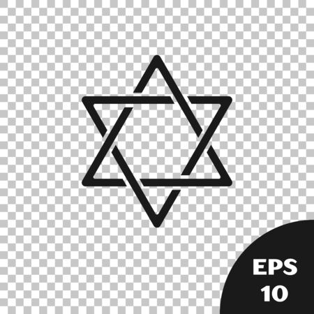Black Star of David icon isolated on transparent background. Jewish religion symbol. Symbol of Israel. Vector Illustration Illustration