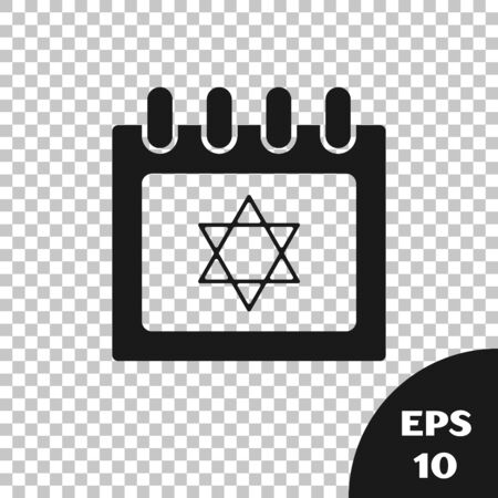 Black Jewish calendar with star of david icon isolated on transparent background. Hanukkah calendar day. Vector Illustration