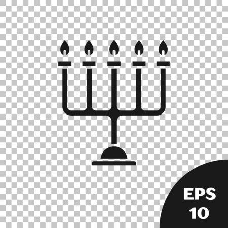 Black Hanukkah menorah icon isolated on transparent background. Hanukkah traditional symbol. Holiday religion, jewish festival of Lights. Vector Illustration Çizim