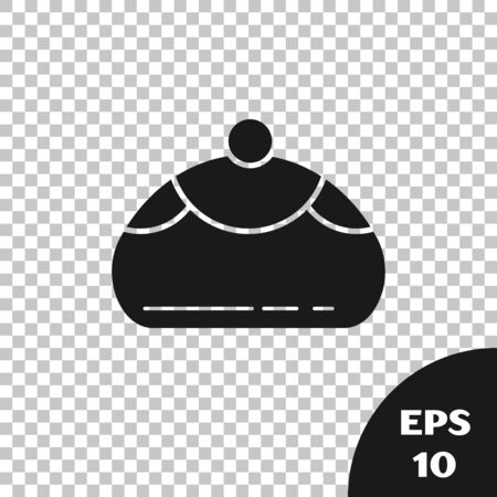Black Jewish sweet bakery icon isolated on transparent background. Hanukkah sufganiyot. Jewish easter cake. Vector Illustration