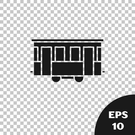 Black Old city tram icon isolated on transparent background. Public transportation symbol. Vector Illustration