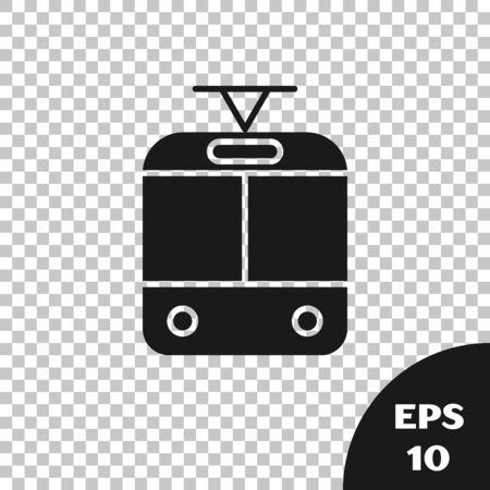 Black Tram and railway icon isolated on transparent background. Public transportation symbol. Vector Illustration Stock Illustratie