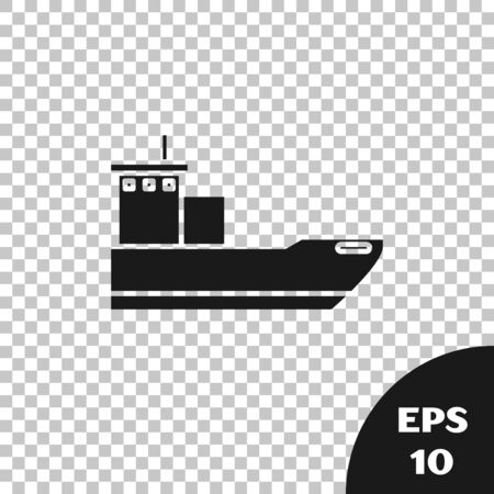 Black Cargo ship icon isolated on transparent background. Vector Illustration 向量圖像