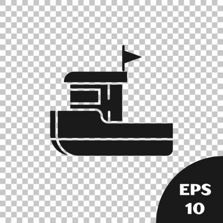 Black Fishing boat icon isolated on transparent background. Vector Illustration