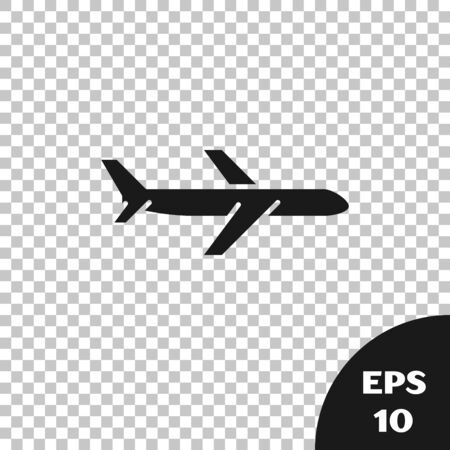 Black Plane icon isolated on transparent background. Flying airplane icon. Airliner sign. Vector Illustration