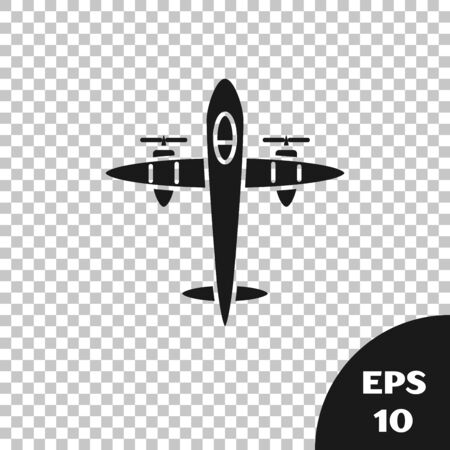 Black Old retro vintage plane icon isolated on transparent background. Flying airplane icon. Airliner sign. Vector Illustration