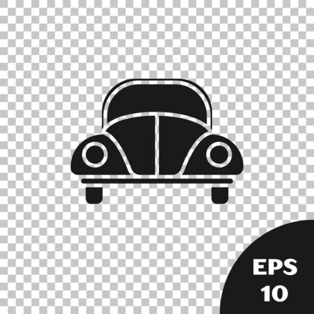 Black Car beetle icon isolated on transparent background. Vector Illustration