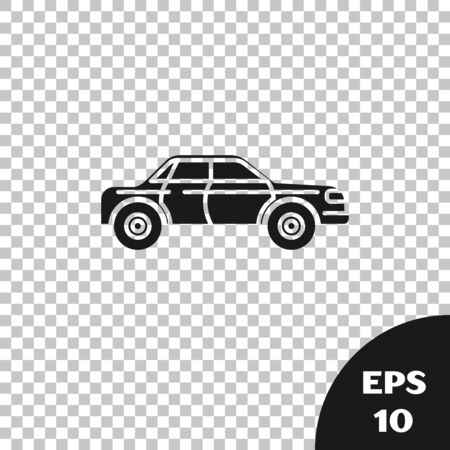 Black Sedan car icon isolated on transparent background. Vector Illustration