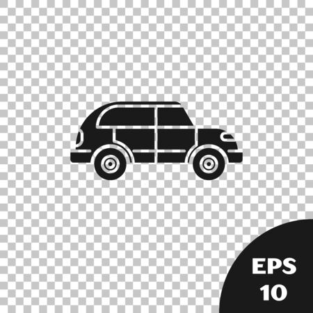 Black Hatchback car icon isolated on transparent background. Vector Illustration