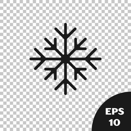 Black Snowflake icon isolated on transparent background. Vector Illustration
