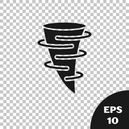 Black Tornado icon isolated on transparent background. Vector Illustration  イラスト・ベクター素材