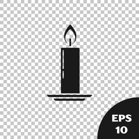 Black Burning candle in candlestick icon isolated on transparent background. Old fashioned lit candle. Cylindrical candle stick with burning flame. Vector Illustration Stock Illustratie