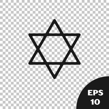 Black Star of David icon isolated on transparent background. Jewish religion symbol. Symbol of Israel. Vector Illustration Stock Illustratie