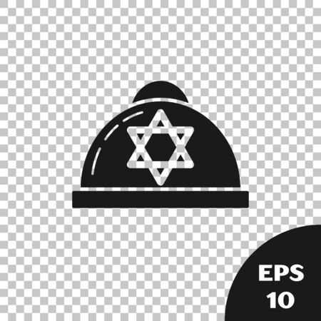 Black Jewish kippah with star of david icon isolated on transparent background. Jewish yarmulke hat. Vector Illustration
