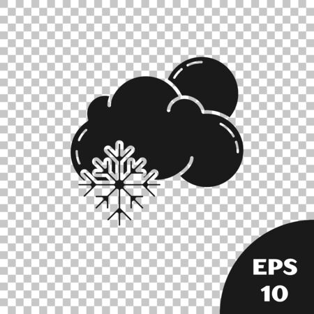 Black Cloud with snow and sun icon isolated on transparent background. Cloud with snowflakes. Single weather icon. Snowing sign. Vector Illustration
