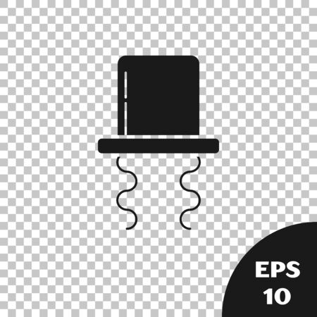 Black Orthodox jewish hat with sidelocks icon isolated on transparent background. Jewish men in the traditional clothing. Judaism symbols. Vector Illustration