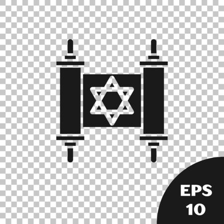 Black Torah scroll icon isolated on transparent background. Jewish Torah in expanded form. Star of David symbol. Old parchment scroll. Vector Illustration  イラスト・ベクター素材