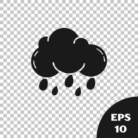 Black Cloud with rain icon isolated on transparent background. Rain cloud precipitation with rain drops. Vector Illustration