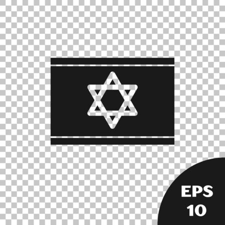 Black Flag of Israel icon isolated on transparent background. National patriotic symbol. Vector Illustration
