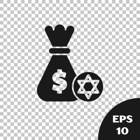 Black Jewish money bag with star of david and coin icon isolated on transparent background. Currency symbol. Vector Illustration