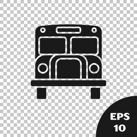 Black School Bus icon isolated on transparent background. Public transportation symbol. Vector Illustration Çizim