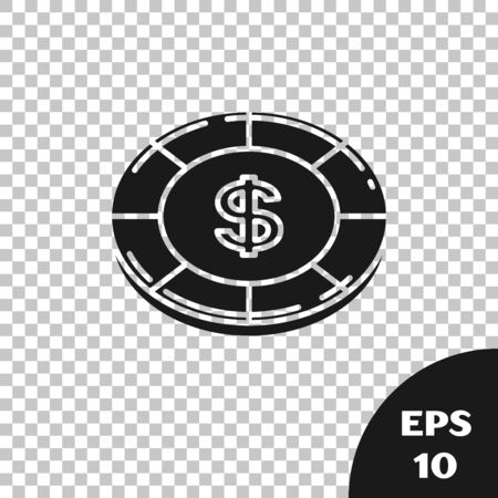 Black Casino chip with dollar symbol icon isolated on transparent background. Casino gambling. Vector Illustration