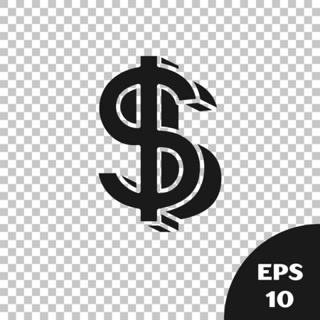 Black Dollar symbol icon isolated on transparent background. Cash and money, wealth, payment symbol. Casino gambling. Vector Illustration