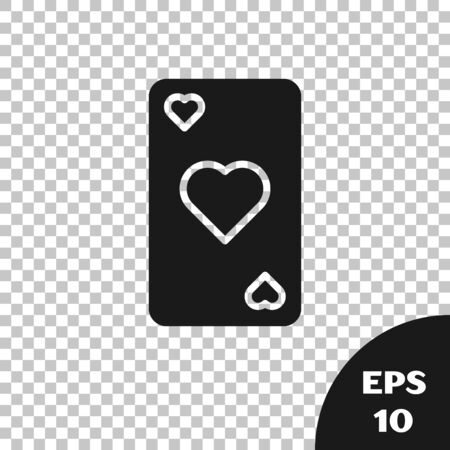 Black Playing card with heart symbol icon isolated on transparent background. Casino gambling. Vector Illustration
