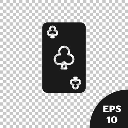 Black Playing card with clubs symbol icon isolated on transparent background. Casino gambling. Vector Illustration